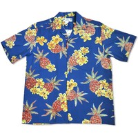 Pineapple Blue Hawaiian Rayon Shirt