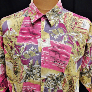 Vintage 80s Shirt Bright Loud Outsized Pattern Shirt 2XL