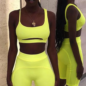 Bold And Brave Neon Yellow Sleeveless Spaghetti Strap Scoop Neck Cut Out Crop Top Biker Short Two Piece Bodycon Romper Set