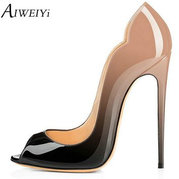 AIWEIYi PU Leather Pumps Super High Heel Peep Toe Basic Shoes Women Fashion Slip On Heels Ladies Wedding Shoes Zapatos Mujer