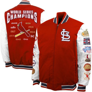 St. Louis Cardinals Triple Double Authentic Commemorative Canvas Jacket – Red/White