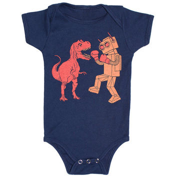 Dinosaur vs Robot Onesuit - Baby Infant One Piece Funny Awesome SciFi Geek Trex Boxing Dino Monster Battle Bodysuit Romper Navy Blue Jumper