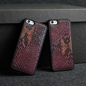 Luxury 3D Genuine Python Skin Leather Mobile Phone Case for iPhone 5 6 6s 5s SE Plus 7