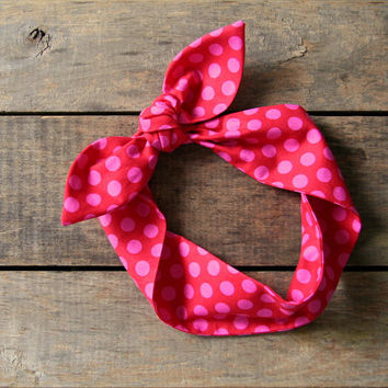 red and pink polka dot headscarf, retro tie up headband, adjustable, summer fall fashion, knotted headband