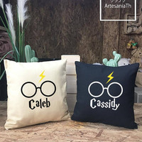 Harry Potter Custom Personalized Pillow cover cotton canvas, Harry Potter gift. Harry Potter Birthday., canvas pillow cover
