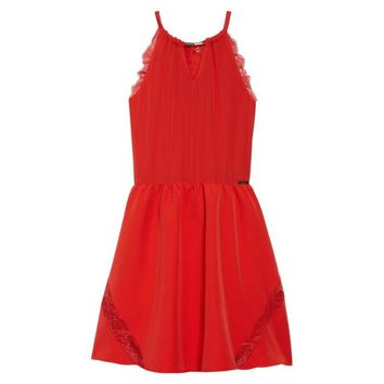Marciano Red Lace Trimmed Girl's Halter Dress, Size 14