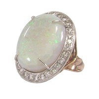 Opal Diamond Ring Platinum Top Art Nouveau