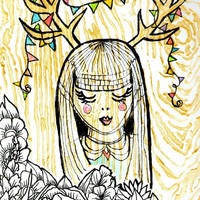 Deer Girl Painting Acrylic on Canvas 9x12 Woodgrain faux bois black and white flowers antlers party banner bangs metallic gold pastels