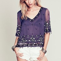 Free People Womens Sparkling Seas Embellished Top