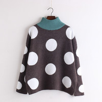 Polka Dot Scoop Korean Pullover Knit Loose Sweater