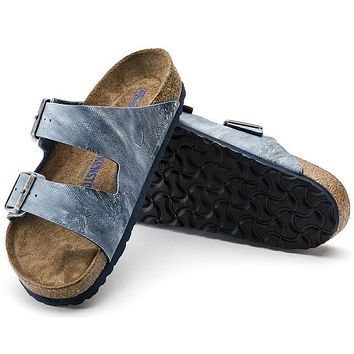 Best Online Sale Birkenstock Arizona Soft Footbed Birko Flor Jeans Washed Out Blue 100