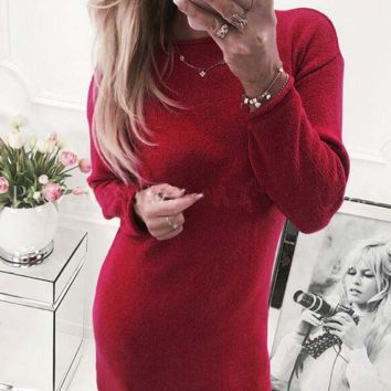 Solid Color Round Neck Long-Sleeved Dress