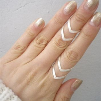 Double V Chevron Adjustable Ring - 18K Gold, Silver and Rose Gold Plated