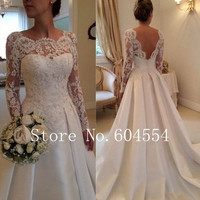 Vestido De Noiva  US Size 4~22 White/Ivory Applique Long Sleeve A-Line Lace Wedding Dress Robe De Mariage