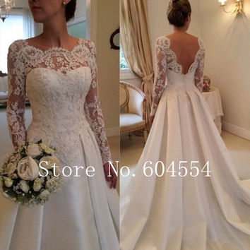 2016 Stock Vestido De Noiva  US Size 4~22 White/Ivory Applique Long Sleeve A-Line Lace Wedding Dress Robe De Mariage