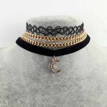2017 Vintage Velvet Choker Necklaces For Women 3 Pcs/lot Sailor Moon Pendant Necklace Fashion Girls Chocker Collares