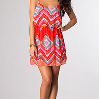 Short Spaghetti Strap Print Dress by As U Wish