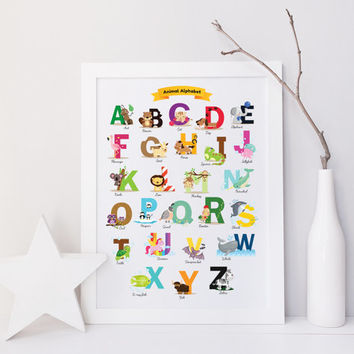 Animal Alphabet Poster Wall Art, Baby Shower Gift, ABC, Baby Alphabet, Nursery Art, Baby Gift, Animal Décor, Alphabet Print, Cute Animals
