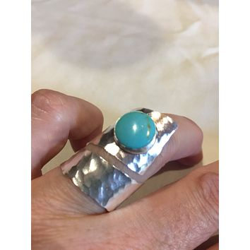 Vintage 1970's Turquoise Gemstone 925 Sterling Silver Spoon Handle Ring