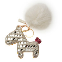 LUCKY CRYSTAL HORSE CHARM WHITE POM