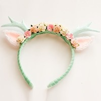Mint Floral Deer Headband