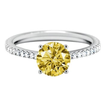 Solitaire with accents 2.11 carats yellow round center diamond ring gold white 1