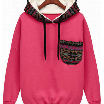 Casual Sports Hooded Outfits Long-Sleeved Cotton Fleece Hoodie with Chest Pocket