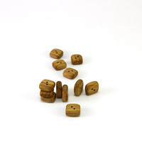 Tiny wooden buttons - Square rowan wood buttons - 0.5x0.5in (12x12mm) - Set of 12 natural wood buttons - Handmade craft supplie (R7598)