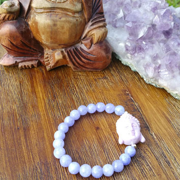 Original Collection- Purple Lavender Beaded/Lavender Purple Buddha Charm Bracelet