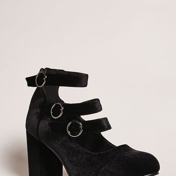 Yoki Velvet Mary Jane Heels