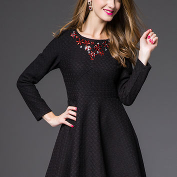 Black Beaded Long Sleeve A-Line Mini Skater Dress