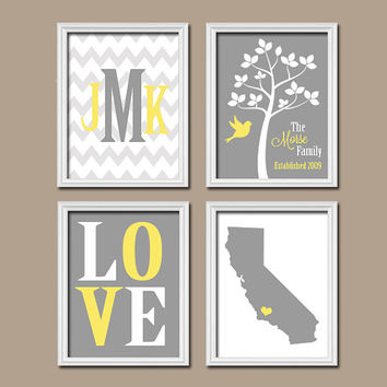 Personalized Family Wall Art Custom Family Tree Print State Wall Art Monogram Initial LOVE Bird Tree Est Date Wedding Gift Set of 4