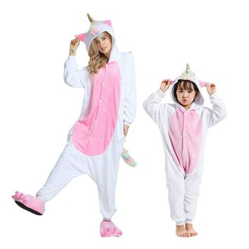 Flannel Animal unicorn panda Onesuit pajamas women's warm pajamas family matching outfits family matching mother daughter pajamas