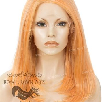 """17"""" Heat Safe Synthetic Lace Front """"Victoria"""" Bob with Straight Texture in Orange Sorbet"""