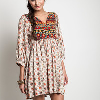 Peace, Love, and Understanding Dress - Taupe Mix