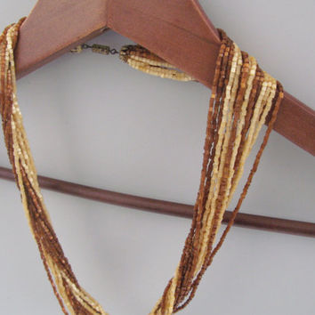 Vintage multi-strand brown and gold beaded necklace, brown and gold necklace seed bead necklace