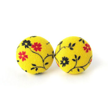 Yellow button earrings - yellow fabric earrings - tiny stud earrings bright sunny happy floral