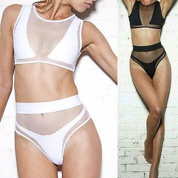 Swimwear Black White Sheer Mesh See Thru 3Pcs Swimsuit Crop Top Zip Back Sexy Bikini Set High Cut Waisted Bathing Suit Beachwear