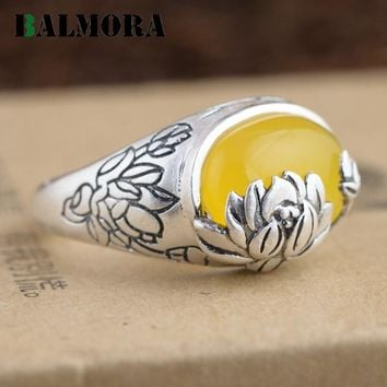 BALMORA 3 Colors Authentic 990 Pure Silver Vintage Lotus Flower Oval Rings for Women Lover Anniversary Gift Jewelry MN20765