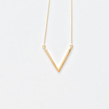 Sterling Silver Chevron Necklace, V Necklace, Triangle Necklace, Triangle Arrow Necklace, Arrow Necklace, V Necklace, Dainty Gold Necklace