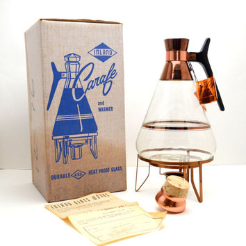 Vintage Inland Carafe and Warmer, Includes Box and Tag, Mid Century Coffee Pitcher, Copper Colored Details, 1950s-1960s