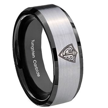 10mm CTR Beveled Edges Brushed Silver Black Tungsten Carbide Wedding Band Mens