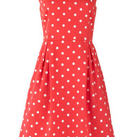Dresses - Lora Coral Dot Dress