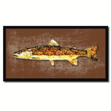 Brown Trout Fish Art Brown Canvas Print Picture Frames Home Decor Nautical Fisherman Gifts