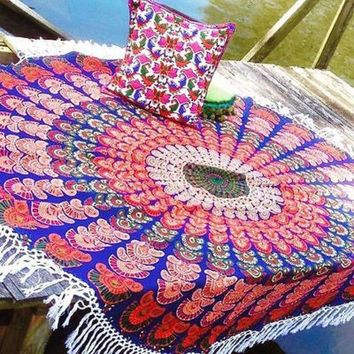 ESBU3C Hippie Round Mandala Tapestry Indian Wall Hanging Retro Printed Throw beach Shawl and Mat