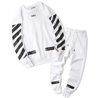 Off White Women or Men Fashion Casual Loose Sweater Pants Trousers Set Two-Piece