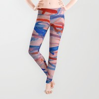 Blue- Orange Lines Leggings by Sandra Arduini
