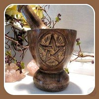 Wooden Pentagram Mortar & Pestle Set