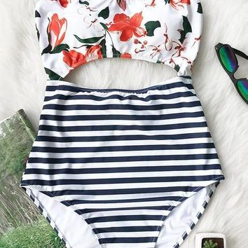 One Piece Bathing Suit AINDAV Leaves Printing Stripe Halter  Swimsuit Women Bathing Suits Vintage Beach Wear Plus Size Swimwear with Cutout KO_9_1
