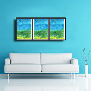 Blue & Green Wall decor - Abstract art print, 3 pieces Triptych Landscape, Summer  Modern Colorful High quality  Home decor prints